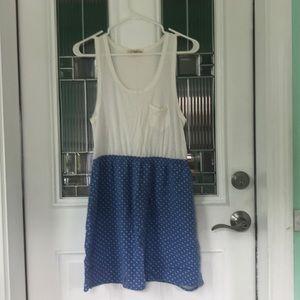 Blue Polka Dot Tank Top Dress